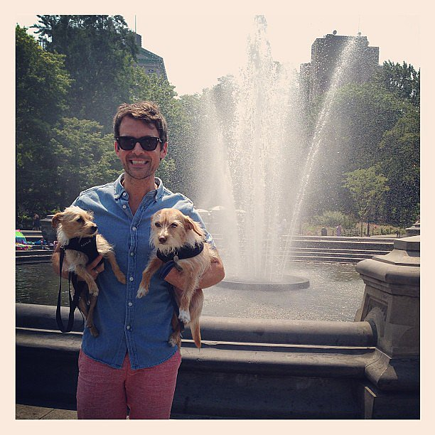 Brad Goreski posed with his two adorable puppies during a warm NYC day in Washington Square Park. Source: Instagram user mrbradgoreski