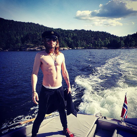 Jared Leto went shirtless to set sail on a boat in Norway. Source: Instagram user 30secondstomars