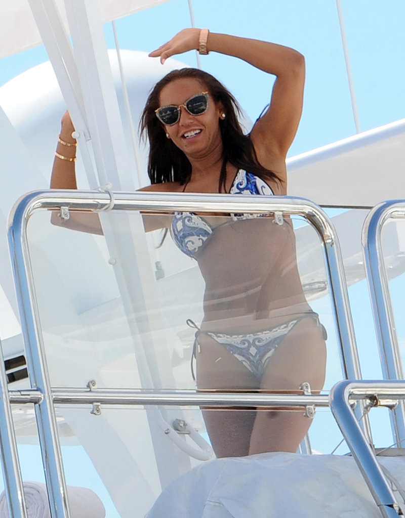 Melanie Brown boarded a yacht in her patterned bikini in May during the Cannes Film Festival.