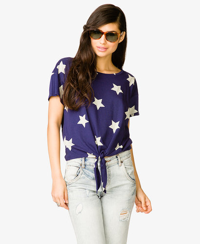 FOREVER 21 Star Gazing Tie-Front Tee