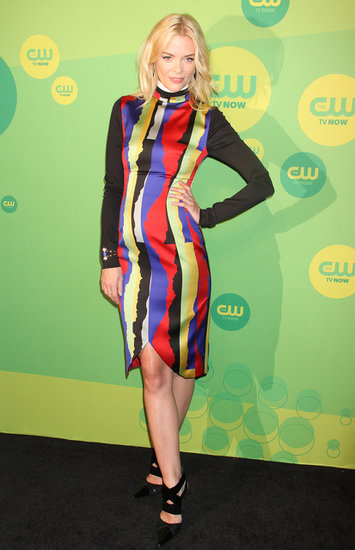 Don't forget about bright hues, especially during Summer. Jaime King wasn't afraid to display her bold style in a multicolored, long-sleeved dress at CW's 2013 Upfront event in NYC. For her accessories, she added a Rachel Zoe bracelet and black strappy pumps.