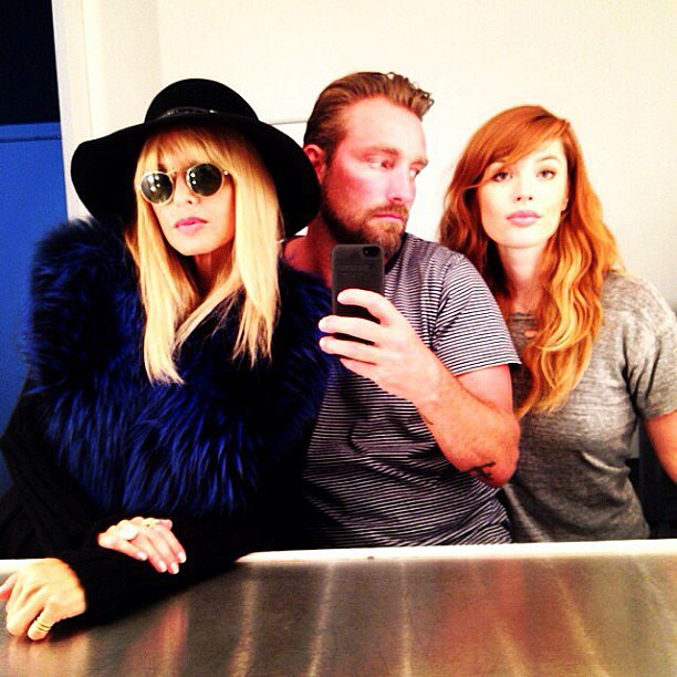 Rachel Zoe wrapped a day on the set in a shaggy fur coat and wide-brimmed hat. Source: Instagram user rachelzoe