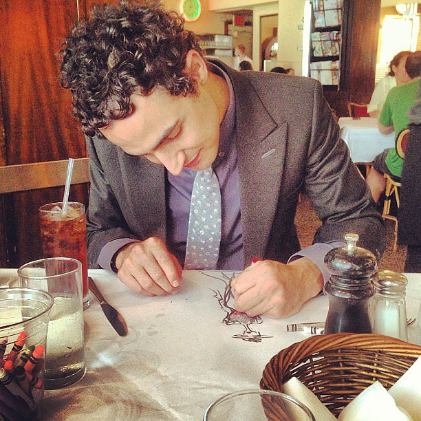 Zac Posen brought his design skills to the table — literally — and did some sketching with crayons during lunch. Source: Instagram user zac_posen