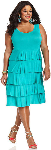 Spense Plus Size Dress, Sleeveless Tiered Ruffled