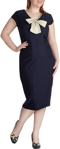 Stop Staring! Sheath a Lady Dress in Navy - Plus Size