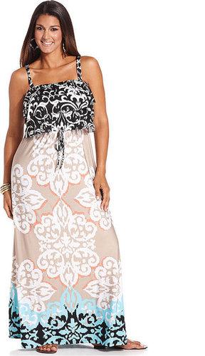 Style&co. Plus Size Dress, Sleeveless Printed Ruffle Maxi