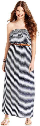 Trixxi Plus Size Dress, Strapless Striped Ruffled Maxi
