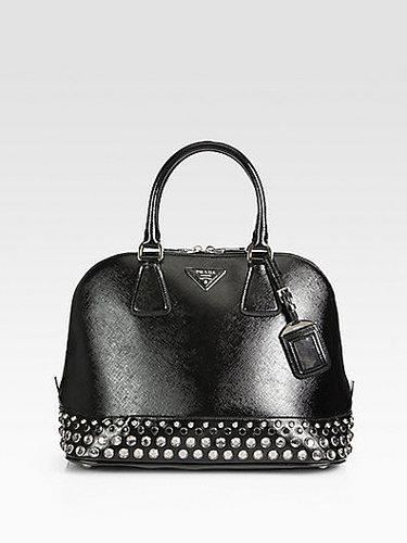 Prada Saffiano Vernice Embellished Medium Promenade Top Handle Bag