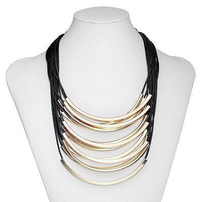 Black Multi Layer Gold Tube Necklace