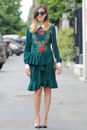 A floral-embroidered, ruffled sheath got a modern update with PVC heels.