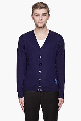 ALEXANDER MCQUEEN Indigo blue skull logo cashmere cardigan