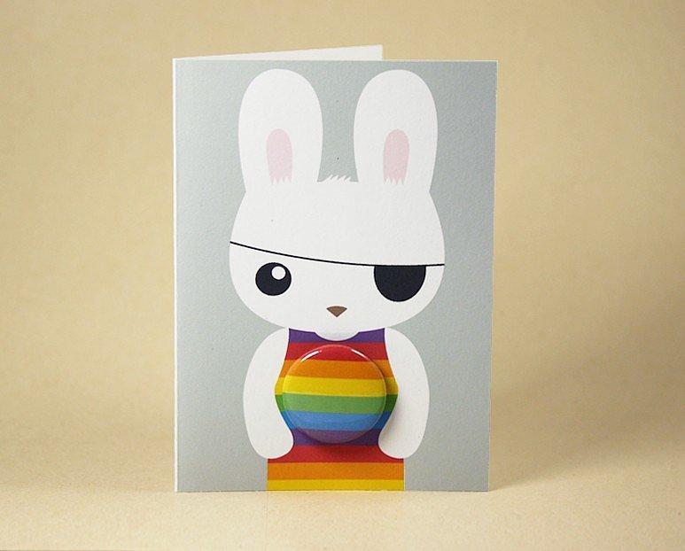 Rainbow bunny rabbit ($5)