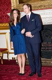 You can't forget this iconic photo! Kate and Prince William announced their engagement to the world during a press photo op at Clarence House in London back in November 2010.