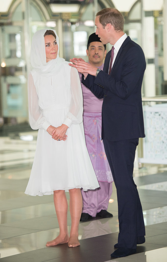 Kate Middleton and Prince William visited the Assyakirin Mosque in Kuala Lumpur, Malaysia, during the couple's Asia tour in September 2012.