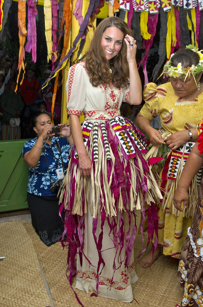 Kate got into the island spirit during a September 2012 visit to the Solomon Islands.