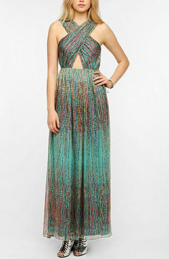 This Sparkle & Fade Cutout Chiffon Maxi Dress ($30) packs all the attention-turning detail you need for under $50.