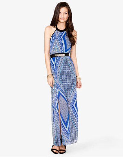 We couldn't resist the gorgeous scarf print on this Forever 21 Tribal Print Halter Dress ($30).