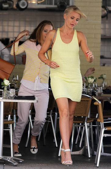 If you prefer sportier cuts, pick a tank dress in a fun hue like the yellow one Cameron Diaz wore while filming a scene with costar Leslie Mann.