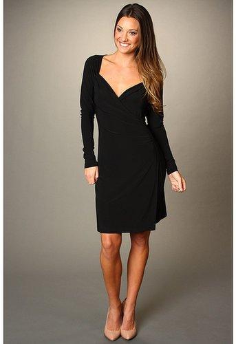 KAMALIKULTURE - L/S Sweetheart Drape Dress Solid (Black) - Apparel