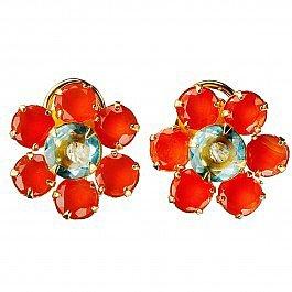 Bounkit Carnelian Flower Stud Earrings