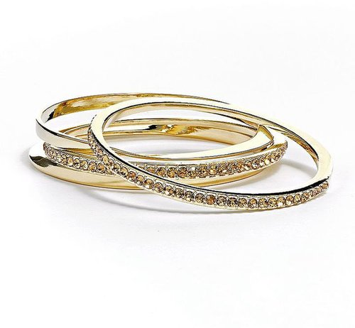 Jennifer lopez gold tone simulated crystal bangle bracelet set