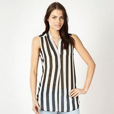Black sheer striped blouse