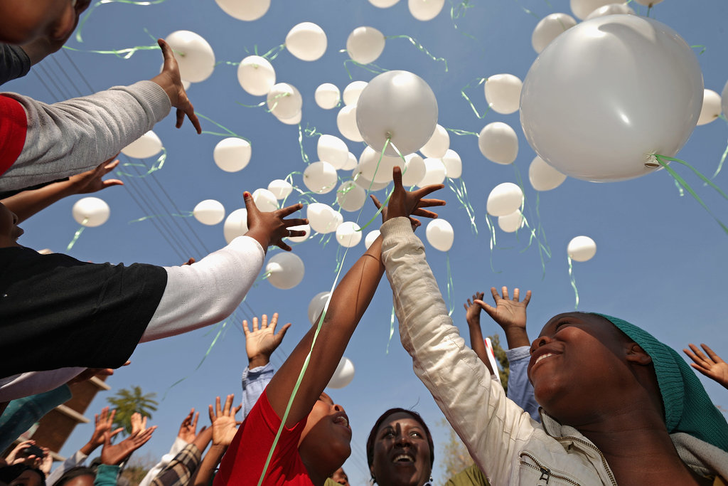 The children released all 95 balloons — a tribute to Mandela's upcoming 95th birthday on July 18.