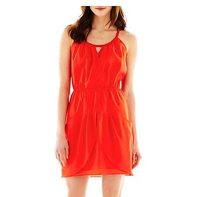 This Nicole by Nicole Miller Braided-Trim Dress ($30) has a beat-the-heat silhouette with a perfect high-wattage color.