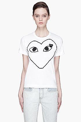 COMME DES GARÇONS PLAY White Black Emblem and applique T-Shirt