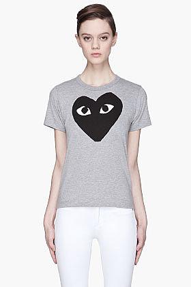 COMME DES GARÇONS PLAY Heather grey black Heart Emblem T-Shirt