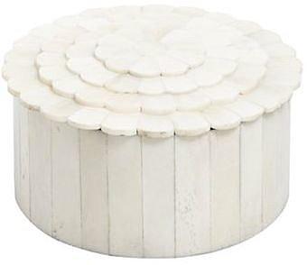 Cream round tiled box