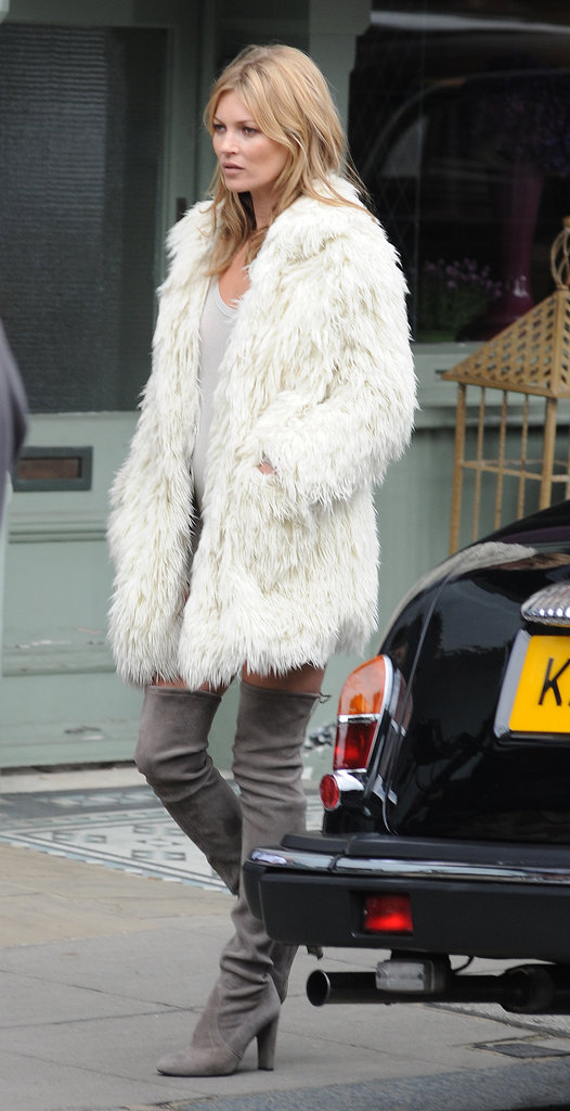 Kate Moss was spotted doing what she does best — striking a pose — on the streets of London during the week.