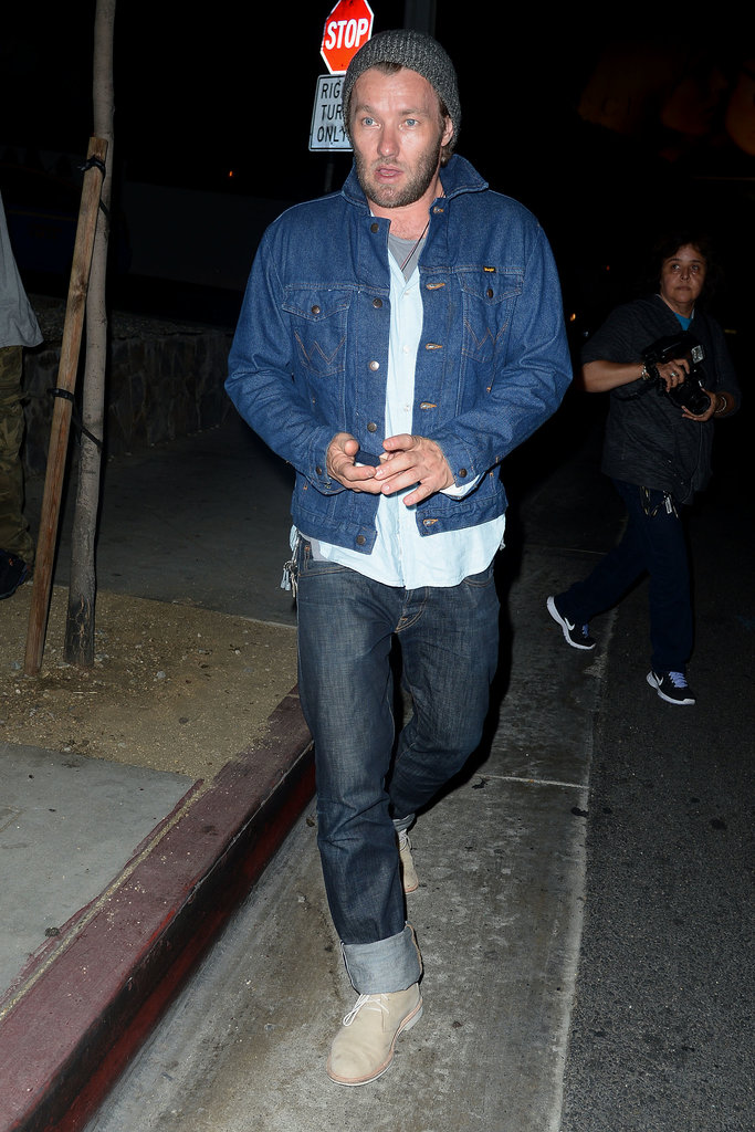 Joel Edgerton rocked double denim when he left Hollywood's famed Chateau Marmont on June 26.
