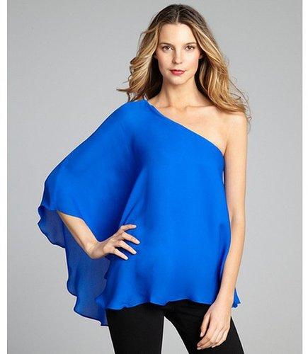 Jay Godfrey cobalt silk one shoulder flutter sleeve 'Howell' blouse