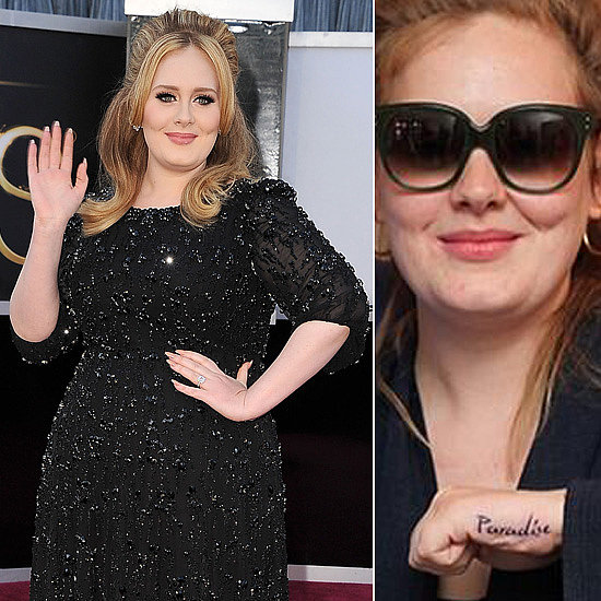 "Adele got a tattoo of the word ""Paradise"" on her left hand during a visit to NYC. Source: Twitter user BangBang and Getty"