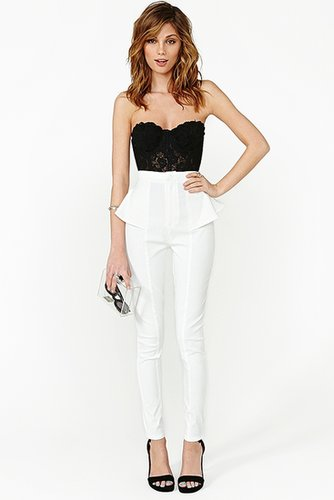 Peplum Skinny Pant - White