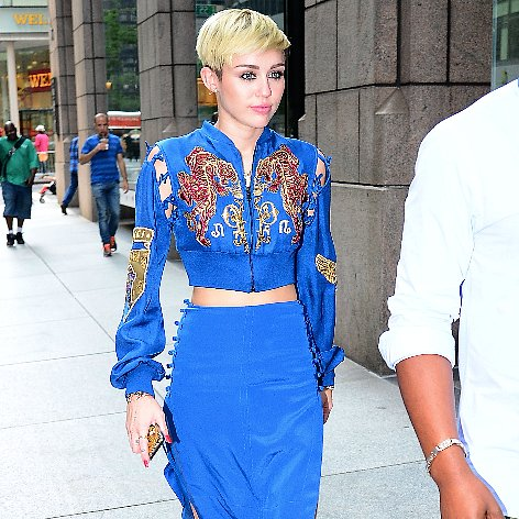 Miley Cyrus Blue Pucci Crop Top