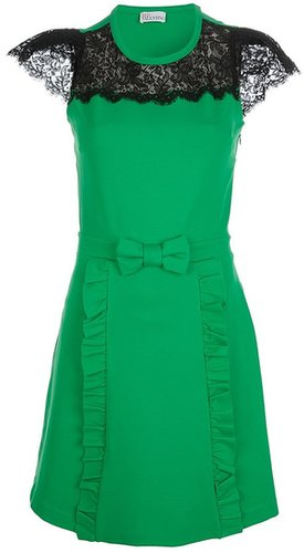 Red Valentino bow embellished lace detail dress