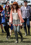 Florence Welch gave her festival look a boho spin, layering loose, flowy pieces.