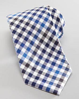 Neiman Marcus Box Check Cotton Tie, Blue/Black