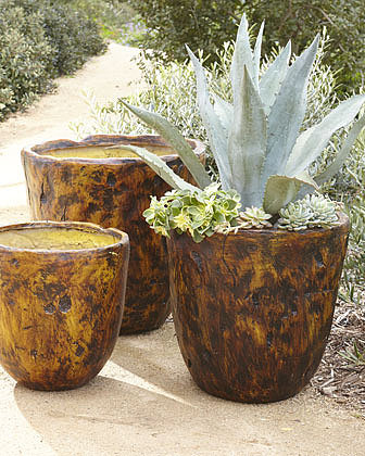 Three Brown Planters