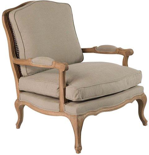 Chantal French-Style Armchair, Oak Frame - Natural Linen