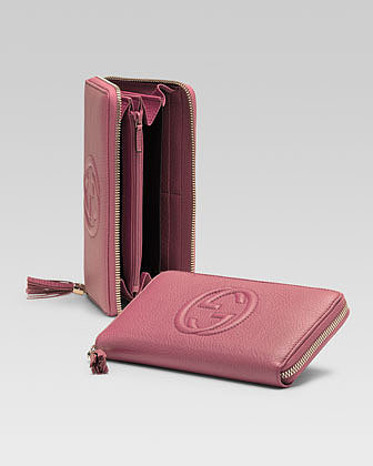 Gucci Soho Leather Zip-Around Wallet, Vintage Rose