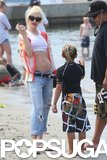 Gwen Stefani hit the beach with Kingston.