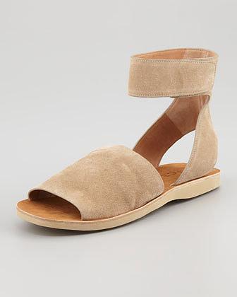 Vince Sadie Suede Ankle-Strap Flat Sandal, Taupe