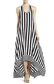 BCBGMAXAZRIA's Gia Silk High-Low Striped Dress