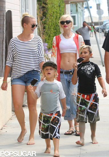 Gwen Stefani hung out in Long Beach, CA, on Saturday with her sons, Kingston and Zuma.