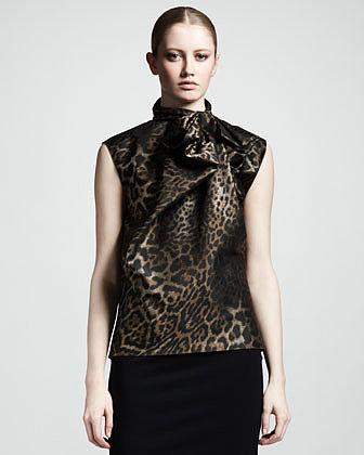 Lanvin Leopard-Jacquard Bow Blouse