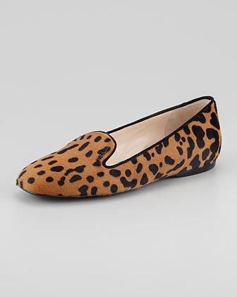 Prada Leopard-Print Calf Hair Smoking Slipper