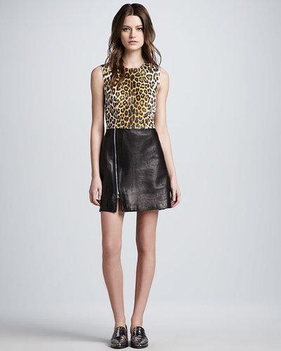 3.1 Phillip Lim Leopard-Print Leather Combo Dress